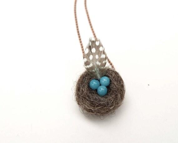 Beautiful Nest Necklace, handmade felt jewelry, unique, feminine, robins egg nest with a guinea fowl feather.