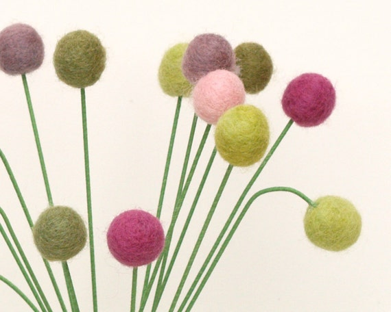 Spring Flowers, Wool Craspedia, Bright Billy Button Balls, Greens, Purples and Pinks, Pretty Accents for your Naural Home Decorating