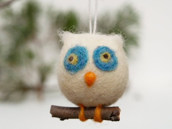 Owl Holiday Ornament Wool Needle Felt Decoration Woodland Tree Waldorf Bird Home Decor Blue White decorating nature Fairyfolk