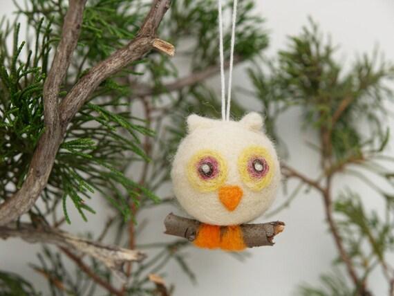 Cute Christmas Ornament Owl Wool Needle Felt Decorations Woodland Tree Fairytale Handmade Nursery Home Decor Blue White Greenteamt