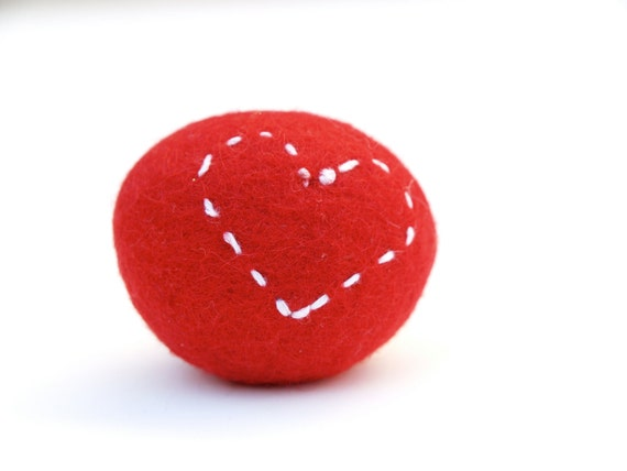 Embroidered Felted Rock, love heart pebble stone wool felt home decor all natural Stocking Stuffer embroidery hostess gift RED 1
