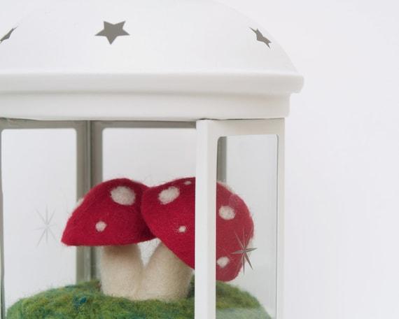 Lantern Toadstool Magical Mossy Festive Season Talbe Centerpiece, Wool Felt Terraruim Whimsical Whimsy Waldorf Glass Red Children