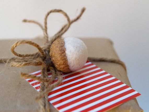 White Gift Tags Holiday Presents Felted Acorns Handmade Nature Inspired Woodland Red white Cute Eco Friendly Fun Winter Wonderland
