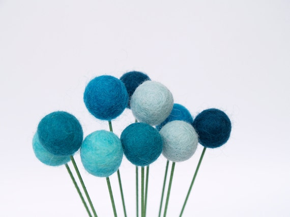 Blue Craspedia Flowers, Shabby Chic Home Decor Felt Wool Billy Button Flower Ball Pom Pom turquoise aqua decorating for her