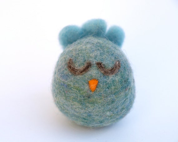 Neelde Felted Bird Toy, Felt Blue Bird, Soft Plush, Chick, Wool, Turquoise Blue, Easter, Christmas, Waldorf Toy