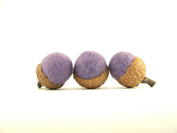 Lavender Purple Needle Felted Wool Acorns, Colorful Autumn and Fall Home Decorating, Fun Pastel Colors - set of 8