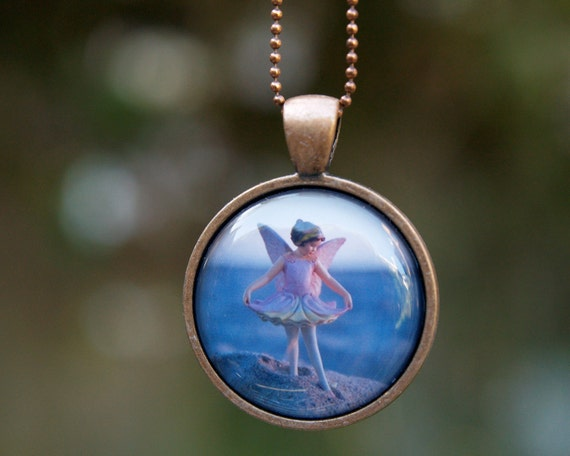 Beach Fairy Necklace, Girls Wearable Art Pendant, magical Flower Fairy jewelry for children and adults