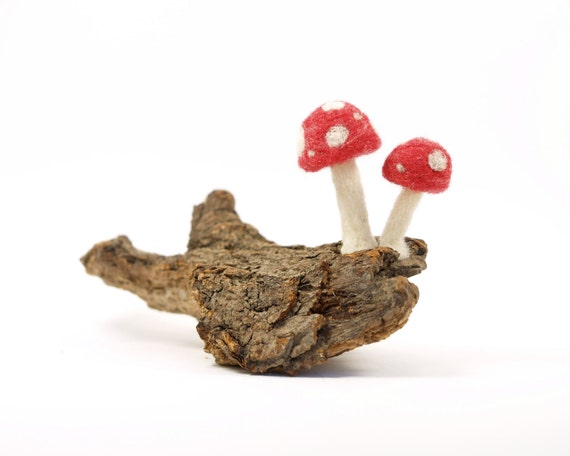 Red Toadstools on a piece of gorgeous Driftwood Art Sculpture, Needle Felted Wool and Mixed Media Art, Whimsical Woodland Scene