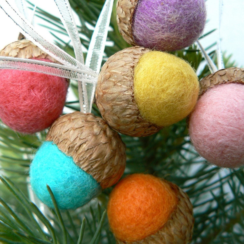 Sale On Christmas Tree Decorations: SALE Bright Christmas Ornaments Wool Tree Decorations
