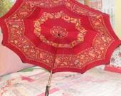 Vintage Umbrella Parasol Red Yellow Black Umbrella Colorful