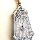 Vintage  Diamond  Necklace Art Deco White Gold French Camphor Glass Pendant