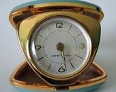 Vintage Westclox Travel Alarm Clock Turquoise Cowhide