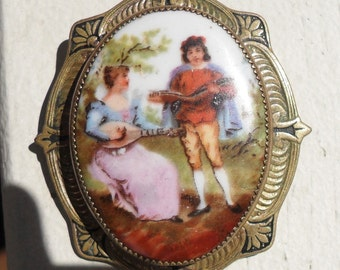 Victorian Brooch Hand Painted Porcelain Picture Antique Brooch Pin