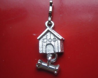 Dog House with bone silver metal charm for bracelet