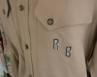 1940s Rockabilly Mens Garbardine Shirt Embroidered Initials RB Vintage Shirt