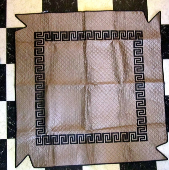 Vintage Card Table Cover Table cloth  Art Deco Greek Key Quilted Plastic Fitted Poker party