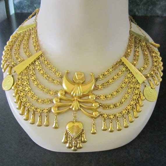 RESERVE for Mona thru 8/24 Vintage Cleopatra Bib Collar Necklace Egyptian Revival 14k Gold Filled