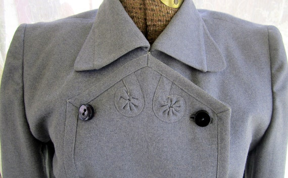 Vintage suit jacket and skirt  1940s grey wool Size small
