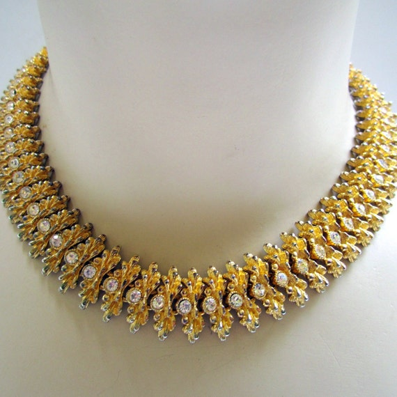 Vintage Collar Necklace with Rhinestones Egyptian  Gold Tone