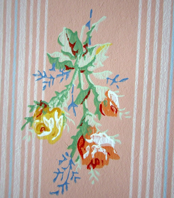 Vintage Wallpaper Roll Pink With roses and stripes 1950s