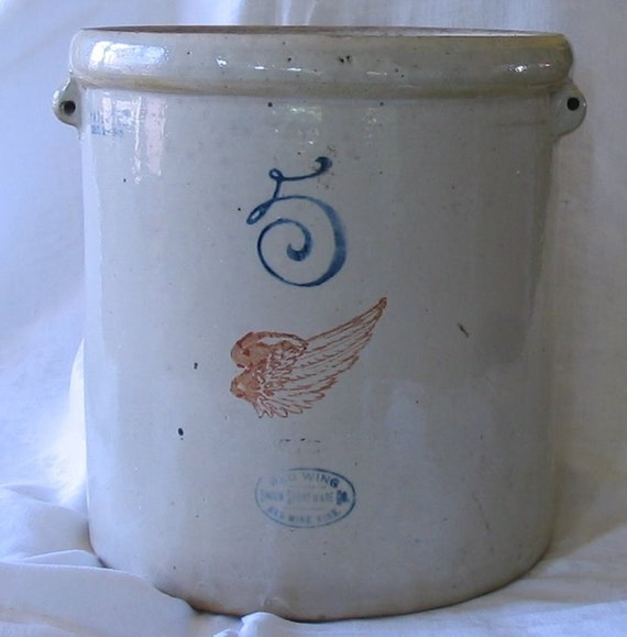 Red Wing 5 Union Stoneware Crock 1915 By Nanascottagehouse