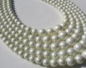 1950 Vintage white bead necklace, wedding, bridal, summer