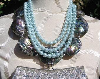 Abalone shell necklace with 1950 vintage pale blue glass pearls set, beaded glam clutch