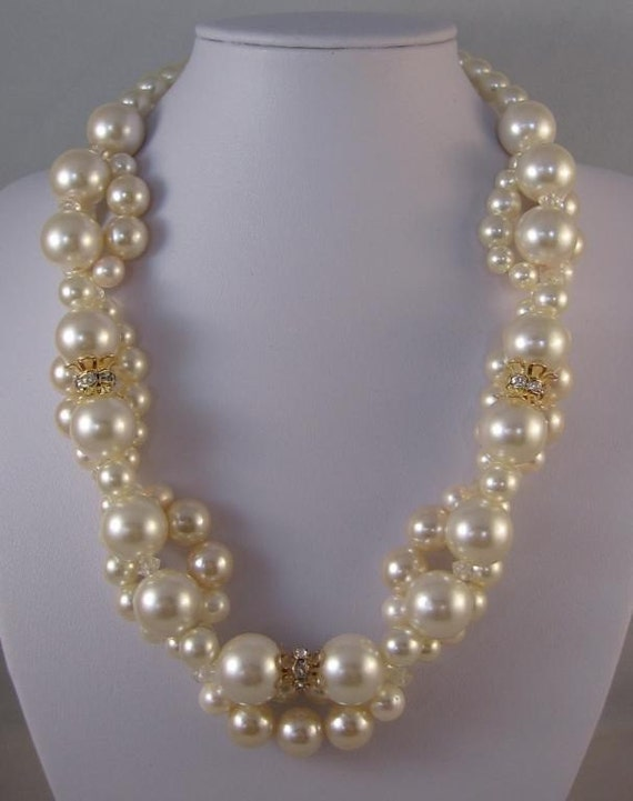 Vintage Pearls and crystal necklace -- reserved for Stephanie