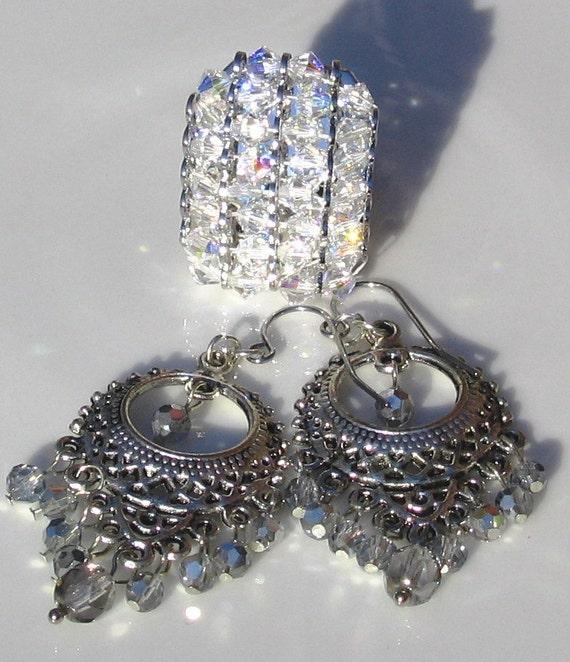 SUPER SALE -- Sparkle Aurora Borealis Swarovski Crystal Ring and FirePolish Earrings