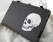 Recycled Book Purse White Skull Gothic Lining