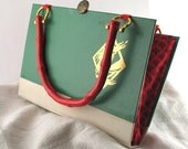 Book purse recycled upcycled dragon Stephen King green red