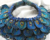 Statement necklace felt peacock feather beaded fiber art