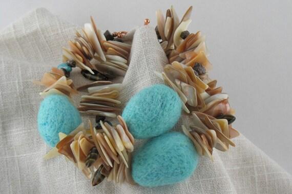 Handmade robin egg bird nest felt bead and shell bracelet