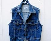 Vintage denim vest / calvin klein / jean jacket / denim waist coat / greaser style / size medium