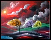 art original abstract painting wind tree painting lollipop tree large abstract  landscape 18 x 24