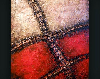 Steampunk macabre Wall Art, Goth Decor, gold & Red Abstract Texture Painting 22 x 28, A Stitch in Time