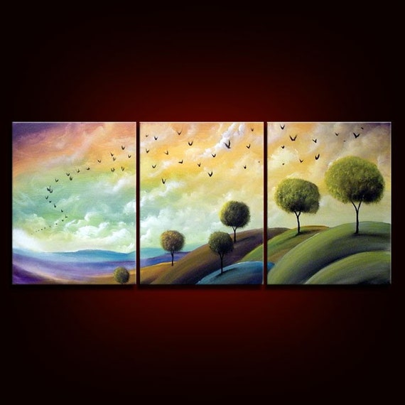 Large HUGE 48 x 20 mountain sunset landscape lollipop tree abstract original painting