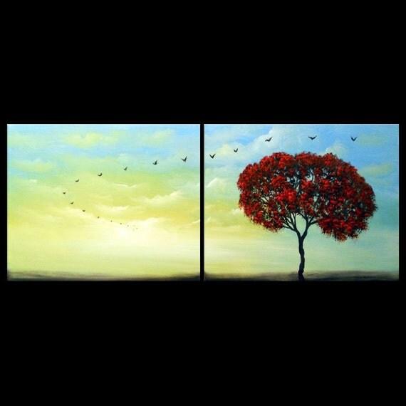 Large 40 inch earth retro vintage art blue sky red tree clouds folk colors sunset bird original landscape painting