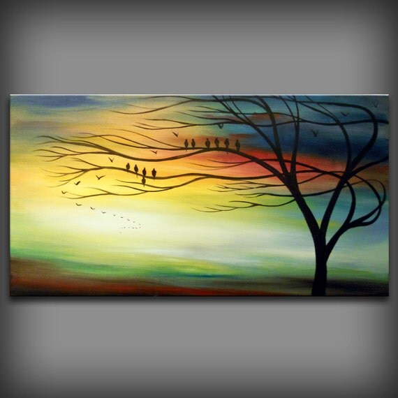 RESERVED for Karla - Original Painting - LARGE HUGE 48 x 24 silhouette tree bird landscape