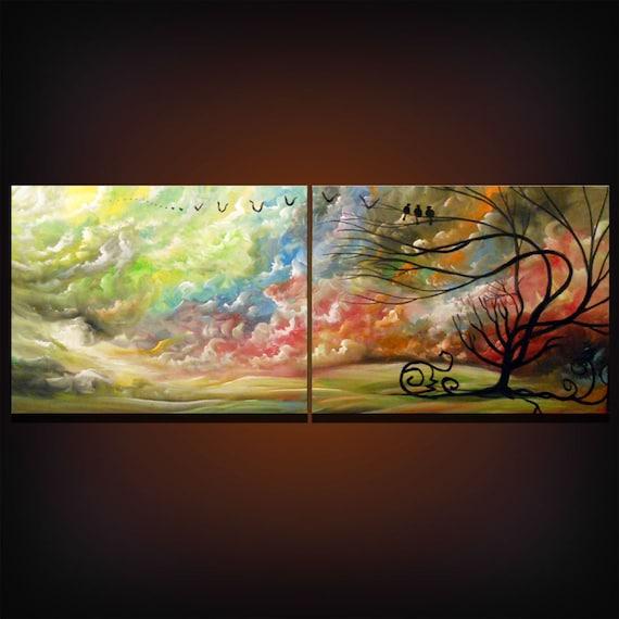 retro landscape painting large tree painting cloud original 48 x 18