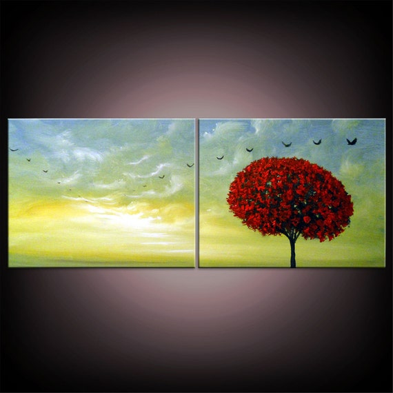 mid century abstract tree painting bird painting cloud nature blue sky lollipop sunset 16 x 40 original illustration art Mattsart