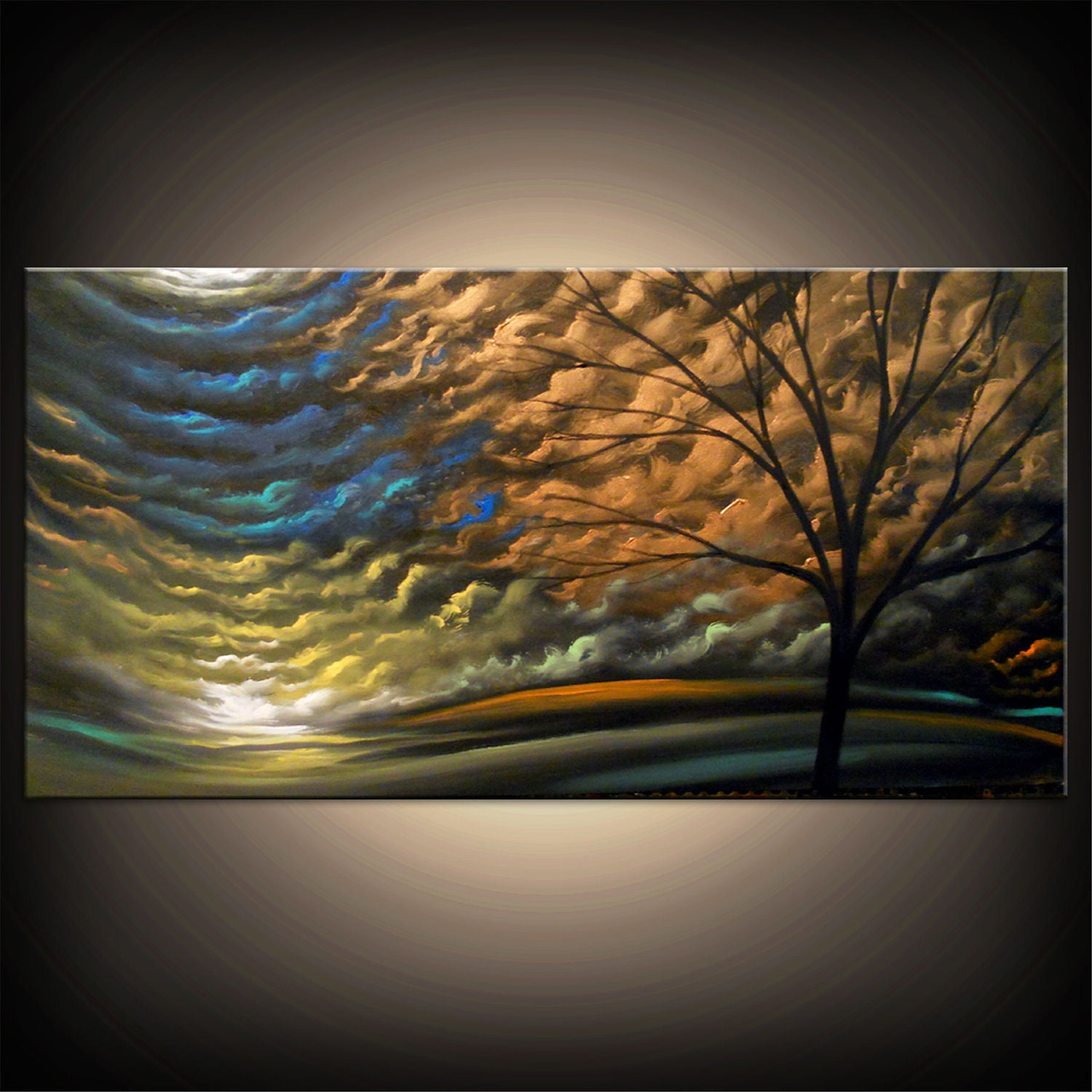 Abstract Metallic Silhouette Tree Painting Landscape Painting