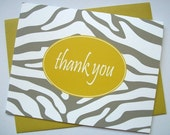 Stuck In the Middle Zebra Print Pattern Personalized Folded Note Cards---Set of 12