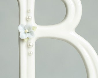 Hydrangea and Pearl Accented Porcelain Monogram Cake Topper - 16400 HYDRANGEA