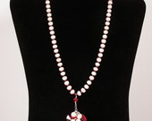 Freshwater Corn Pearl Necklace with Red Swarovski Crystals