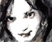 Black White and Gray Oil Painting Of  Womans Face - Portrait on Paper