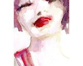 Watercolor and Ink  Original  Her Kiss  4x6