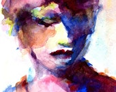 Maes Red Hat Watercolor of a Womans Face with Purple and Blue 8x10 Matted