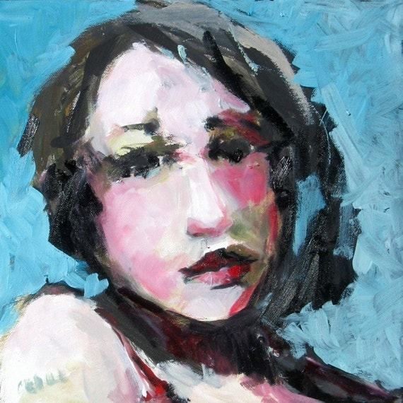 Teal Black and Pinks Oil Painting Portrait of a Woman Kell 12 x 12 on Canvas