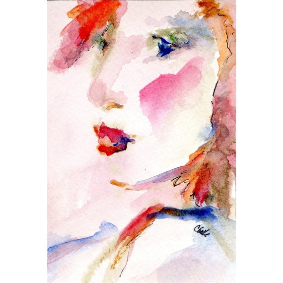 Painting of a Woman's Face Original Watercolor and Ink with Mat